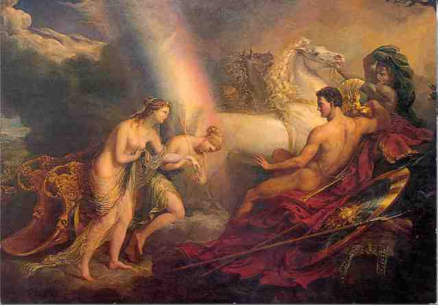 Venus, supported by Iris, complaining to Mars, and showing him the wound received from Diomed, by George Hayter